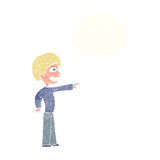 Cartoon grinning boy pointing with thought bubble Stock Photos