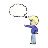 Cartoon grinning boy pointing with thought bubble Stock Images