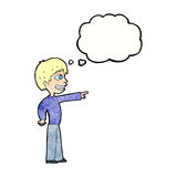 Cartoon grinning boy pointing with thought bubble Royalty Free Stock Photos