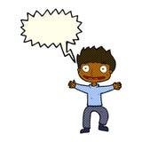 Cartoon grinning boy with speech bubble Stock Photos
