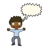 Cartoon grinning boy with speech bubble Royalty Free Stock Photography