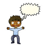 Cartoon grinning boy with speech bubble Stock Photo