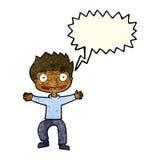 Cartoon grinning boy with speech bubble Stock Photo