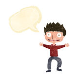Cartoon grinning boy with speech bubble Royalty Free Stock Photo