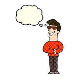 cartoon grinning man wearing sunglasses with thought bubble Royalty Free Stock Photography