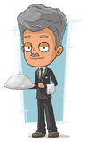 Cartoon grizzle waiter with tray Royalty Free Stock Images