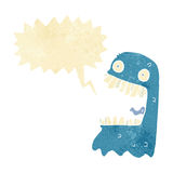 Cartoon gross ghost with speech bubble Royalty Free Stock Images