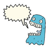 Cartoon gross ghost with speech bubble Royalty Free Stock Image