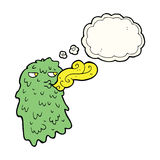 Cartoon gross ghost with thought bubble Royalty Free Stock Images