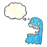 Cartoon gross ghost with thought bubble Stock Image