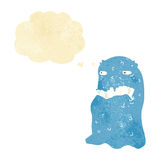 Cartoon gross ghost with thought bubble Stock Images