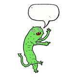 Cartoon gross little monster with speech bubble Stock Photo