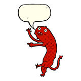 Cartoon gross little monster with speech bubble Royalty Free Stock Images