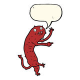 Cartoon gross little monster with speech bubble Royalty Free Stock Image