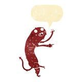 Cartoon gross little monster with speech bubble Stock Photography