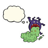 cartoon gross monster being sick with thought bubble Royalty Free Stock Photography