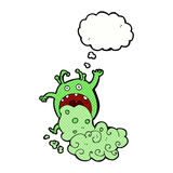 cartoon gross monster being sick with thought bubble Stock Photography