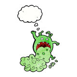 cartoon gross monster being sick with thought bubble Royalty Free Stock Images