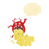 cartoon gross monster being sick with thought bubble Royalty Free Stock Image