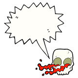Cartoon gross skull with speech bubble Stock Photos