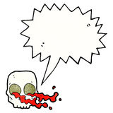 Cartoon gross skull with speech bubble Royalty Free Stock Image