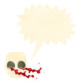 Cartoon gross skull with speech bubble Royalty Free Stock Images