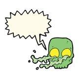 Cartoon gross skull with speech bubble Stock Photography