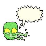 Cartoon gross skull with speech bubble Royalty Free Stock Photography