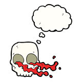 Cartoon gross skull with thought bubble Royalty Free Stock Photography