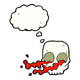 Cartoon gross skull with thought bubble Stock Photography