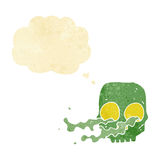 Cartoon gross skull with thought bubble Royalty Free Stock Images
