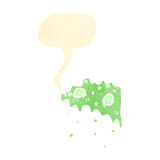 Cartoon gross slime monster with speech bubble Stock Image
