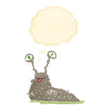Cartoon gross slug with thought bubble Royalty Free Stock Images