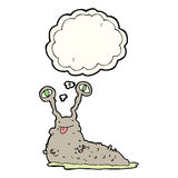 Cartoon gross slug with thought bubble Royalty Free Stock Photo