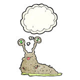 Cartoon gross slug with thought bubble Stock Images