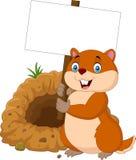 Cartoon groundhog holding blank sign. Illustration of Cartoon groundhog holding blank sign Royalty Free Stock Photo
