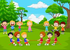 Cartoon group of children playing tug of war in the park stock illustration