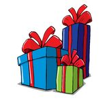 Cartoon of group of christmas gifts Stock Image