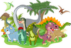 Cartoon group dinosaur stock illustration