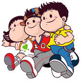 Cartoon group of friends boys and girls. For religion, poster, book cover and adventure purpose Stock Photography