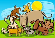 Cartoon Group of Funny Dogs Stock Image