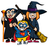 Cartoon of group of kids in Haloween costumes. A vampire, a superhero and a witch Stock Image