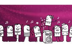 Cartoon group of people and Party time. Illustration Royalty Free Stock Image