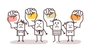 Cartoon group of people saying NO with raised fists stock images