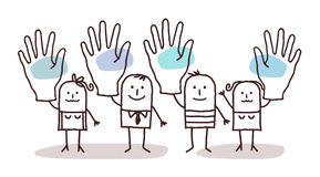 Cartoon group of people saying YES with raised hands Stock Photo