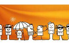Cartoon group of people and summer time. Illustration Stock Photography