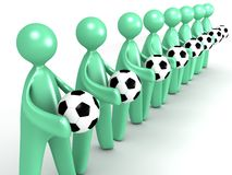 Cartoon Group with Soccer Balls Royalty Free Stock Photos