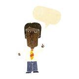 Cartoon grumpy boss with speech bubble Royalty Free Stock Photography