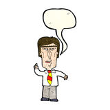 Cartoon grumpy boss with speech bubble Royalty Free Stock Photo