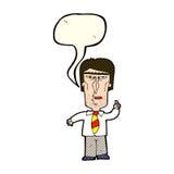 Cartoon grumpy boss with speech bubble Stock Photography